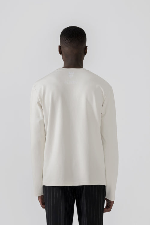 """Nouveau Suede"" white Long Sleeve T-shirt"