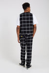 """STAR CHILL"" BLACK CHECK PATTERN WOOL TROUSERS"