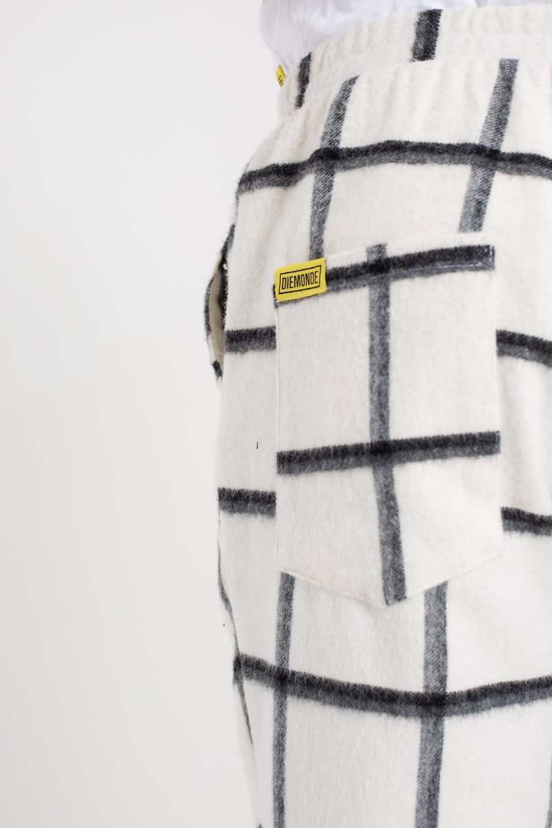 """STAR CHILL"" WHITE CHECK PATTERN WOOL TROUSERS"
