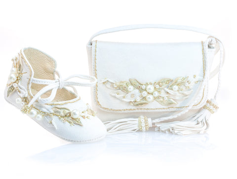 Vibys-Baby-Shoes-and-Mini-Bag-Matching-Accessories-Set-Sun-Glow-front-view