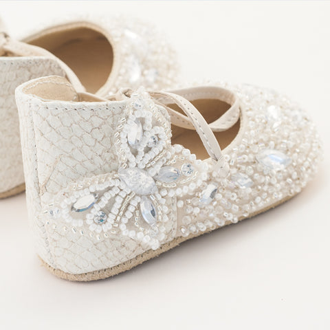 Vibys white pearl embroidered fish leather butterfly baby shoes