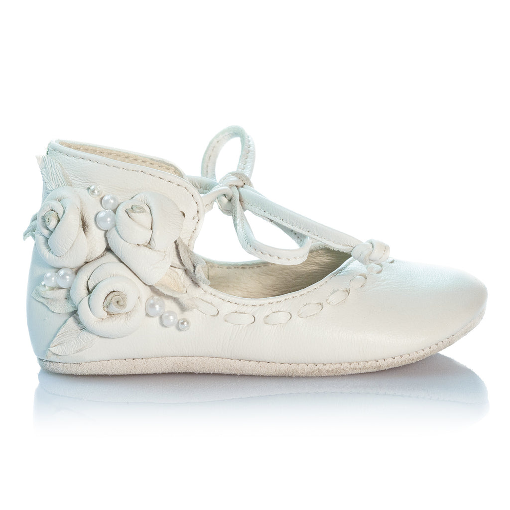 VIBYS Annika handmade ivory white soft leather baby girl shoes with roses and pearls