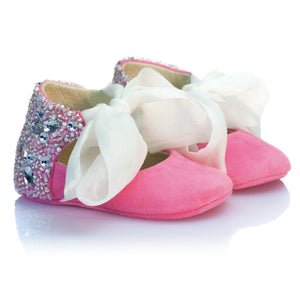 VIBYS Aurora handmade pink soft leather sparkling baby ballet flats