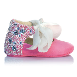 VIBYS Aurora handmade pink soft leather baby girl shoes with crystals pearls and white silk bow