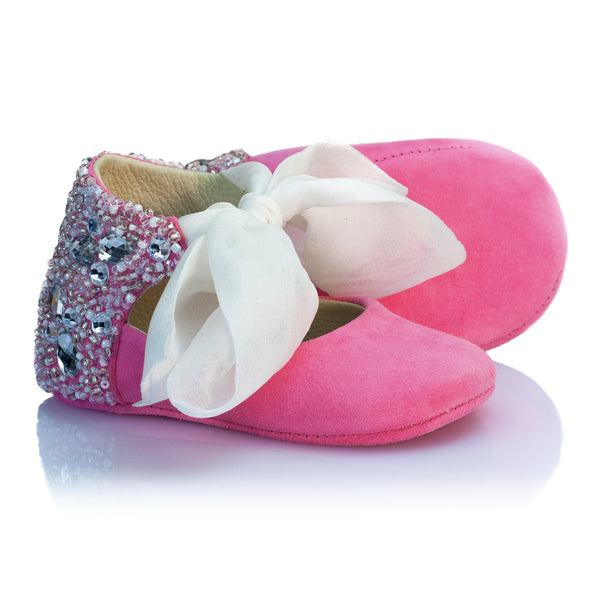 VIBYS Aurora pink soft leather baby girl shoes handmade in Estonia