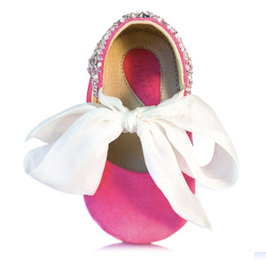VIBYS Aurora pink soft leather baby ballerinas with crystals and white silk bow