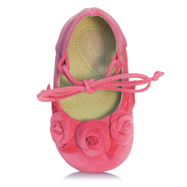 Vibys-Hot-Pink-Leather-Baby-Shoes-with-Rose-Blooms-and-Leaves-Berry-Bloom-top-view