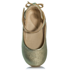 Vibys-Bow-Embellished-Leather-Ballerinas-Daphne-Gold-front-view