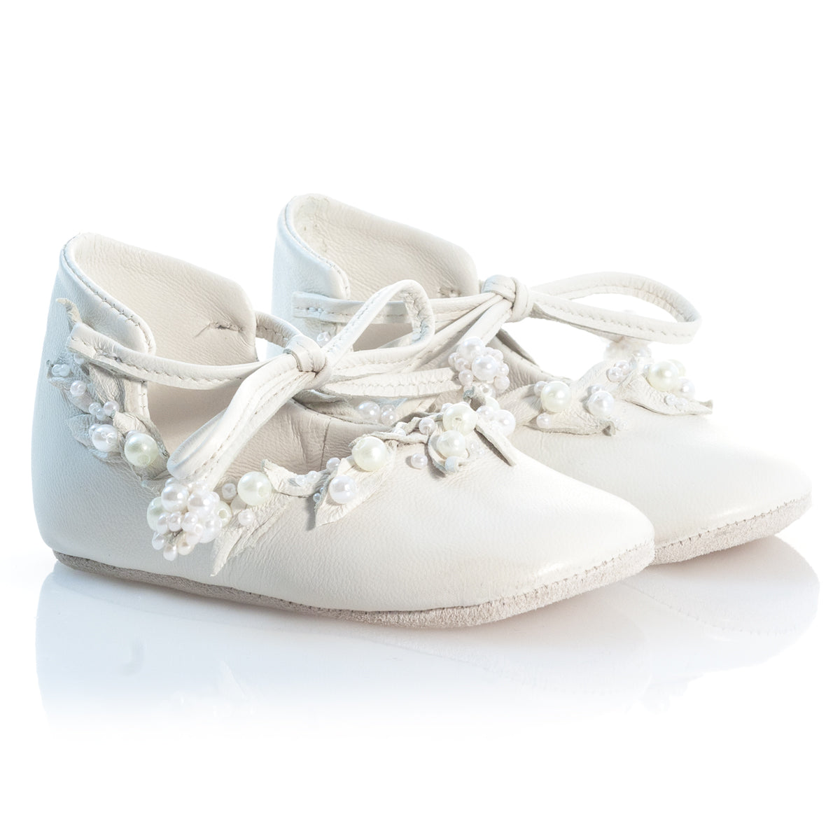 VIBYS WHITE FOREST handmade white leather girl shoes for wedding party christening special event