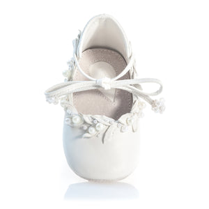 VIBYS WHITE FOREST handmade white leather barefoot baby ballerinas