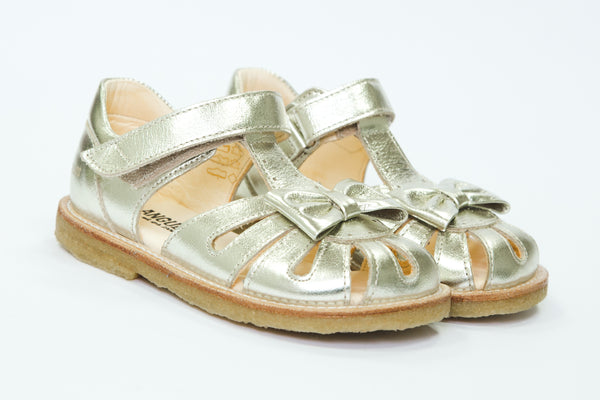 Angulus champagne gold tbar Sandals with bows