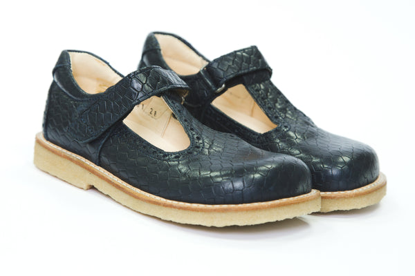 Angulus T bar navy leather girls shoes
