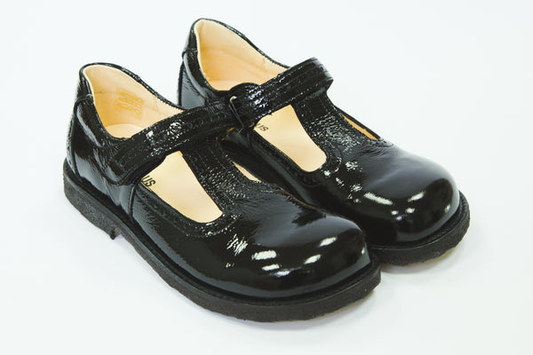 Angulus T bar patent black girls school shoes