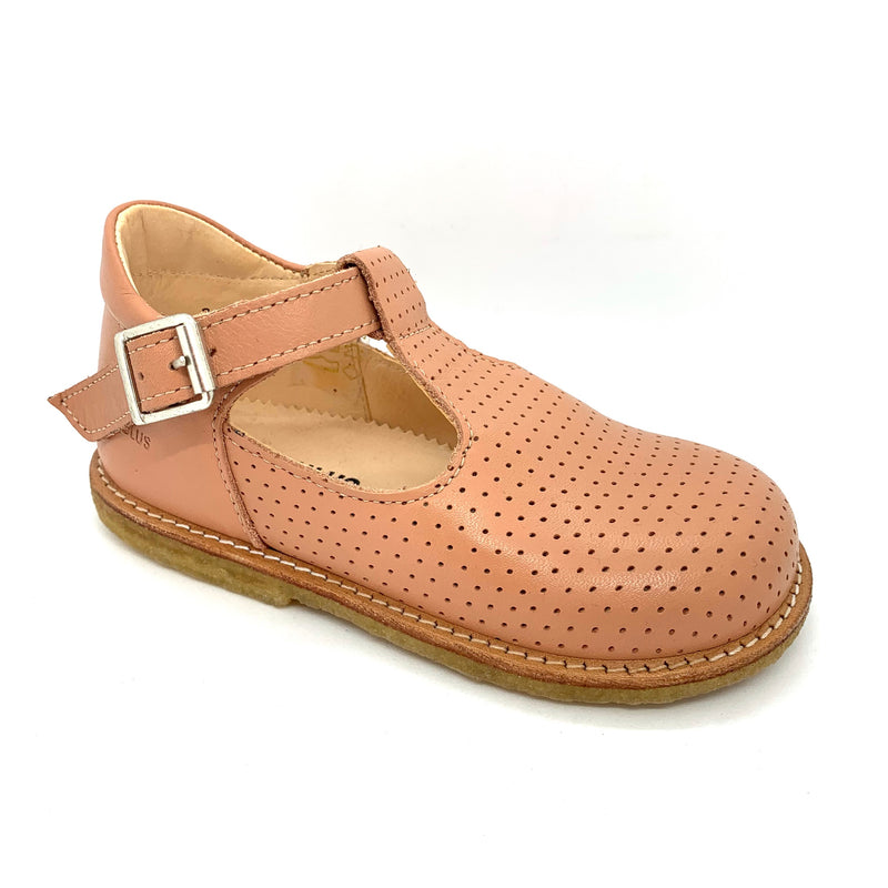 Angulus T bar peach leather shoes with buckles