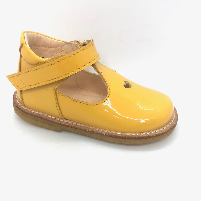 Angulus 3267 yellow patent heart t.bar shoes