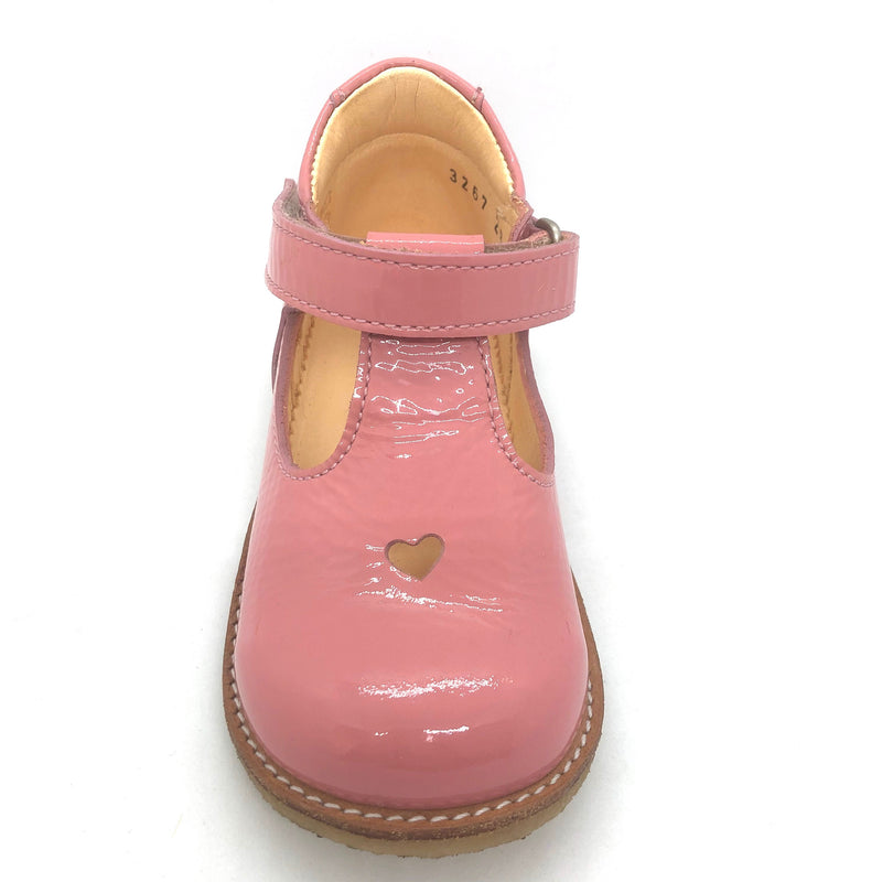 Angulus 3267 pink patent heart t.bar shoes