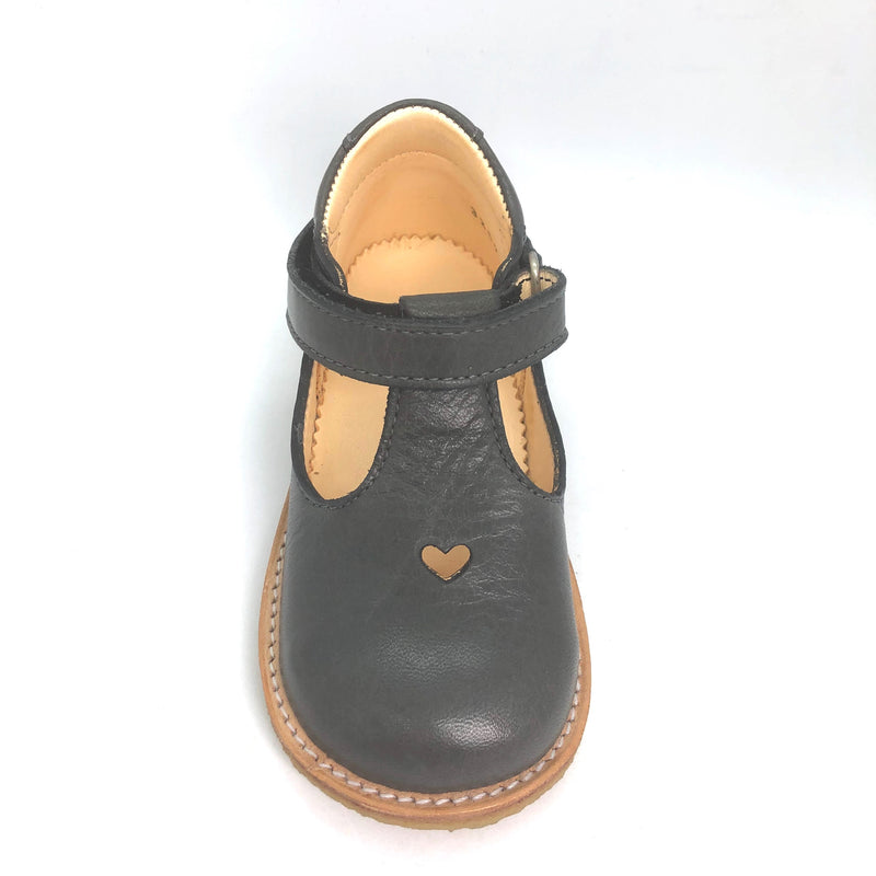 Angulus 3267 grey leather heart t.bar shoes