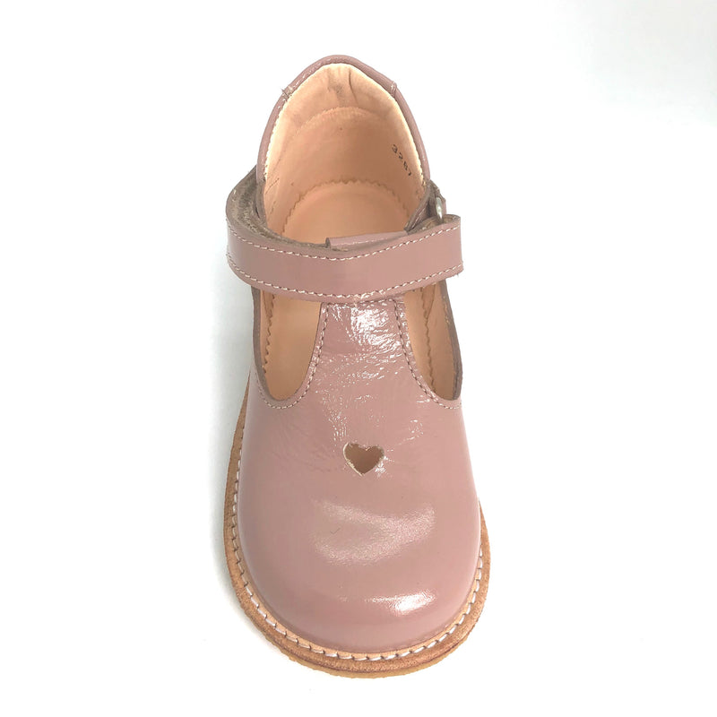 Angulus 3267 nude patent heart t.bar shoes