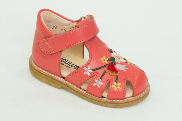 Angulus 0526-101 Embroidery Sandals coral leather tbar
