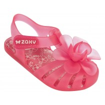 zaxy baby bloom pink jelly shoes with flower