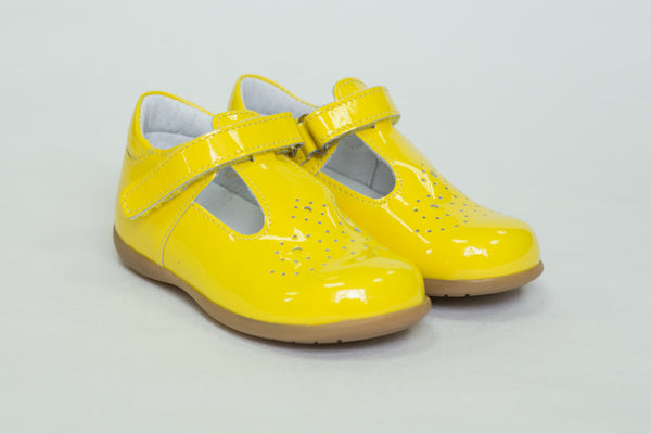 Bo-bell Toto Patent Shoes yellow Tbar with velcro fastener