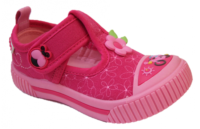 Podlers Bumble girls pink T bar Canvas Shoe