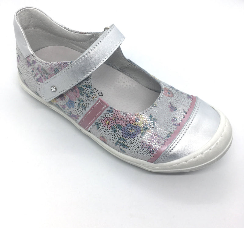 Bellamy laly silver metallic floral girls shoes