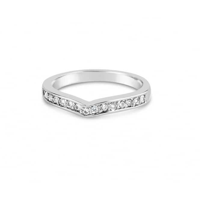 Women's Eternity Style Wishbone Ring Studded With Cubic Zirconia