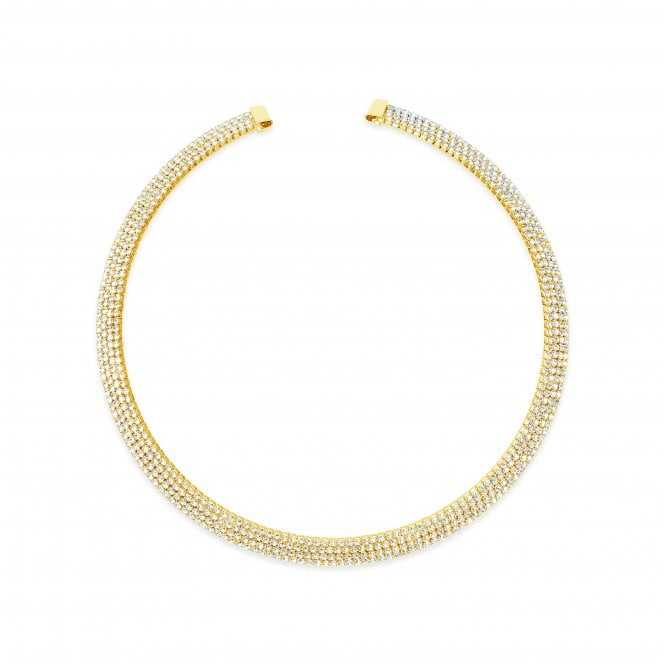 Women's Gold Plated Collar Necklace With Cubric Zirconia