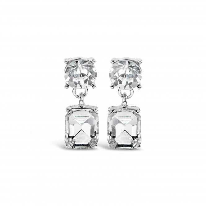 Women's Rhodium Plated Crystal Necklace And Earrings