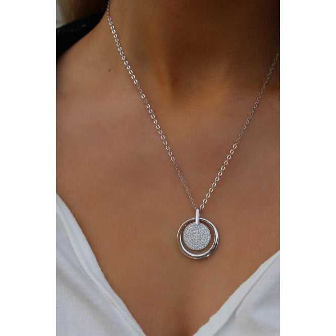 Women's Rhodium Plated With Cubic Zirconia Pendant Necklace