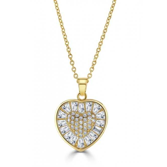 Women's Gold Plated Cubic Zirconia Heart Pendant With Link Chain