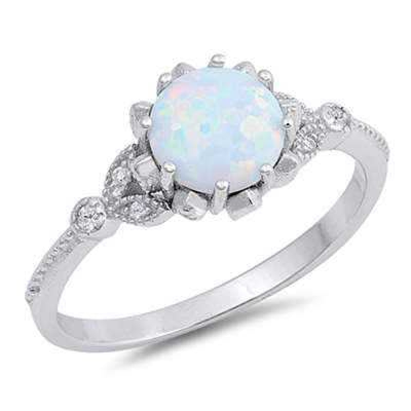 Women's Sterling Silver Round Shape Opal Ring With Zirconia