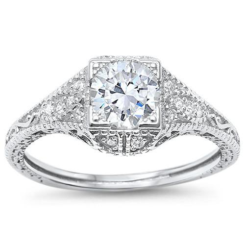 Women's Sterling Silver Antique Style Zirconia Solitaire Ring