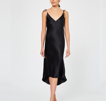 Calf-length silk slip dress [Black] - The Pantry Underwear