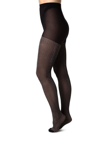 Lisa Lurex rib 40 den [Silver/Black] Accessories Swedish Stockings