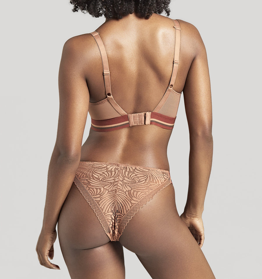 Graphic lace tanga [Caramel] Bottoms Panache