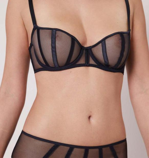 Satin contour balconette [Black] Bras Implicite
