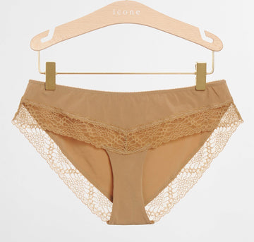 Micofibre & lace brief [Caramel] Bottoms Icone Lingerie extra-small