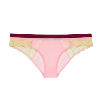 Blush satin & citrus lace low rise knicker Bottoms Dora Larsen extra-small