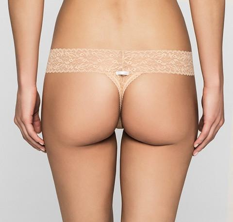 Branded tab stretch thong [Beige] - The Pantry Underwear