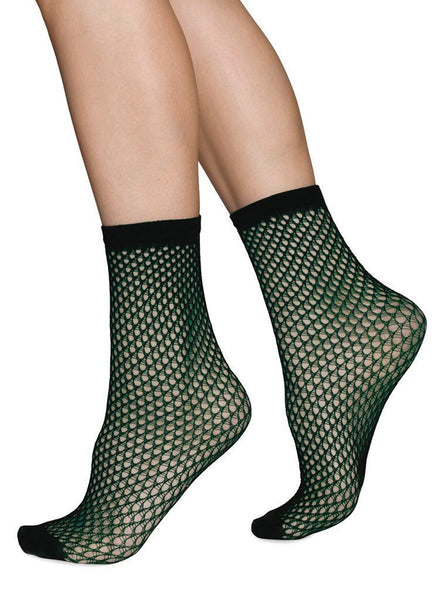 Vera net ankle sock [Dark Green]