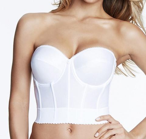 Longline low back bustier [White] - The Pantry Underwear