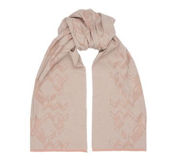 Merino cashmere jacquard scarf (Natural Wool & Pink Lurex] - The Pantry Underwear