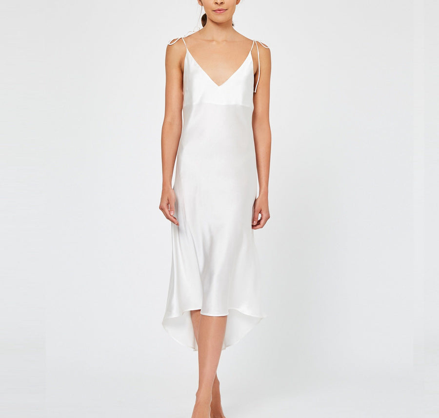 Calf-length silk slip dress [Ivory] Sleep Hesper Fox small