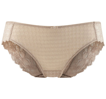 Houndstooth & floral lace french knicker [Beige] Bottoms Panache 8