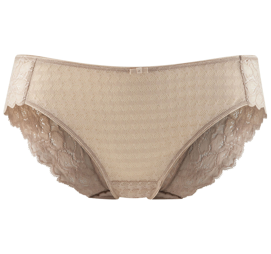 Houndstooth & floral lace french knicker [Beige]
