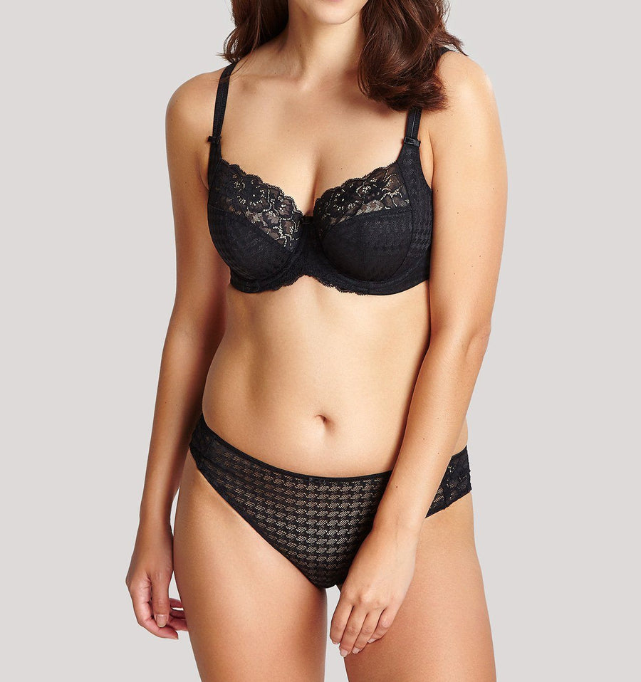 Houndstooth & floral lace french knicker [Black]