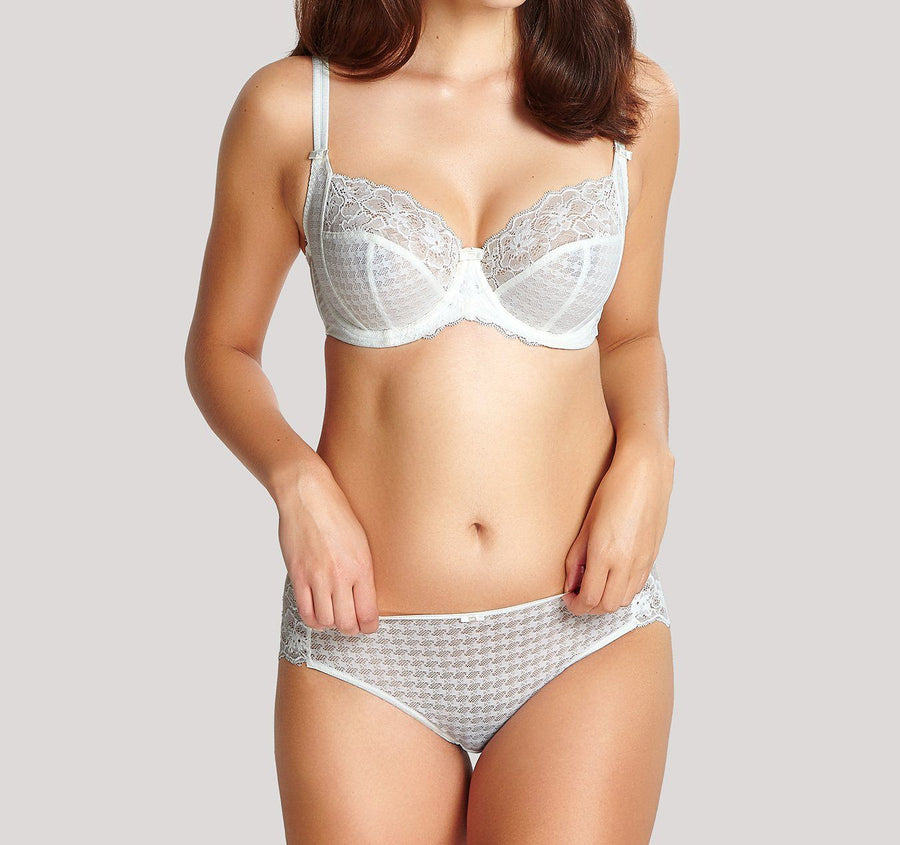 Houndstooth & floral lace French knicker [Ivory]