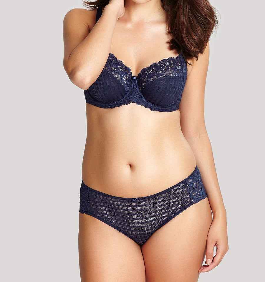 Houndstooth & floral lace french knicker [Navy]